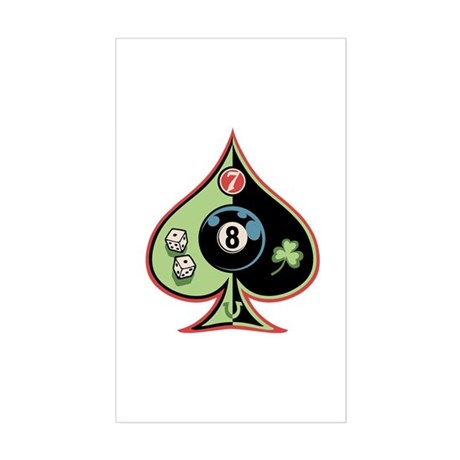 8 of Spades Rectangle Sticker