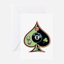 8 of Spades Greeting Cards (Pk of 10)