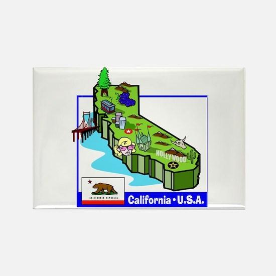 California Map Rectangle Magnet