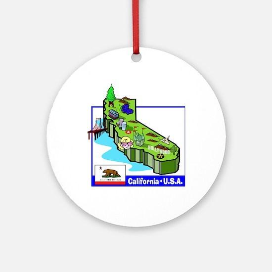 California Map Ornament (Round)