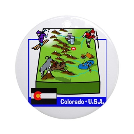 Colorado Map Ornament (Round)