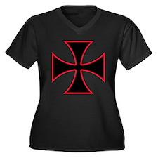 Iron Cross Women's Plus Size V-Neck Dark T-Shirt