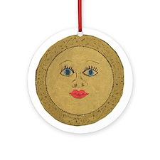 Golden Sun Face Ornament (Round)