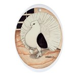 70s Indian Fantail Pigeon Oval Ornament