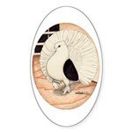 70s Indian Fantail Pigeon Oval Sticker