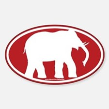 Red Elephant Sticker (Oval)