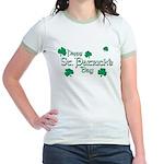 Happy St. Patrick's Day Green Shamrocks Jr. Ringer