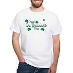 Happy St. Patrick's Day Green Shamrocks White T-Sh