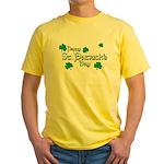 Happy St. Patrick's Day Green Shamrocks Yellow T-S