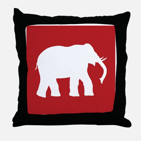 Red Elephant Throw Pillow