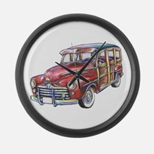 RED WOODY CAR Large Wall Clock