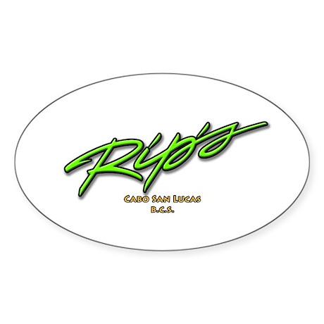 Rip's Bar Script Oval Sticker