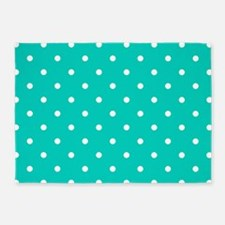Aqua Blue Small Polka Dots 5'x7'Area Rug