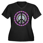 CND Floral3 Women's Plus Size V-Neck Dark T-Shirt