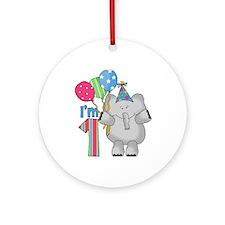 Lil Elephant First Birthday Ornament (Round)
