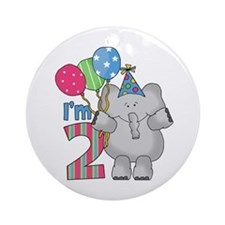 Lil Elephant 2nd Birthday Ornament (Round)