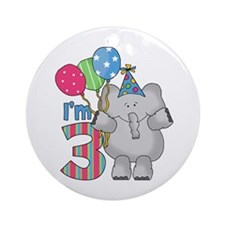 Lil Elephant 3rd Birthday Ornament (Round)