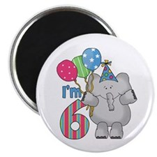 "Lil Elephant 6th Birthday 2.25"" Magnet (10 pack)"