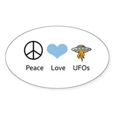 Peace Love UFOs Oval Decal