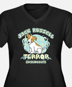 Jack Russell Terror Women's Plus Size V-Neck Dark