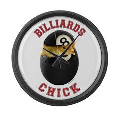 Billiards Chick 2 Large Wall Clock