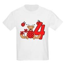 Ladybug Bear 4th Birthday T-Shirt