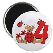 Ladybug Bear 4th Birthday Magnet