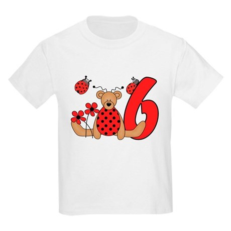 Ladybug Bear 6th Birthday Kids Light T-Shirt
