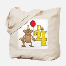 Funny Monkey 4th Birthday Tote Bag