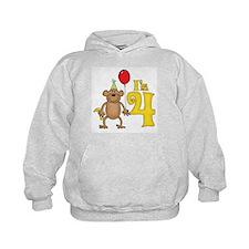 Funny Monkey 4th Birthday Hoodie