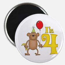 Funny Monkey 4th Birthday Magnet