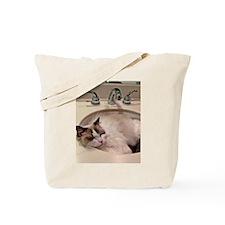 Ragdoll cat sleeping in sinkTote Bag