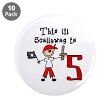 """Stick Pirate 5th Birthday 3.5"""" Button (10 pack)"""