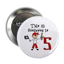 "Stick Pirate 5th Birthday 2.25"" Button (10 pack)"
