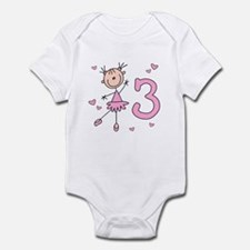 Stick Ballerina 3rd Birthday Infant Bodysuit
