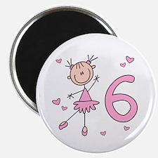 Stick Ballerina 6th Birthday Magnet