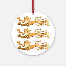 Three Gold Lions Ornament (Round)