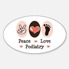 Peace Love Podiatry Oval Decal