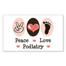 Peace Love Podiatry Rectangle Decal