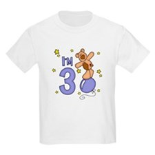 Balloon Bear 3rd Birthday Blue T-Shirt