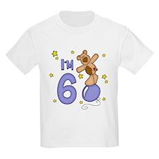 Balloon Bear 6th Birthday Blue T-Shirt
