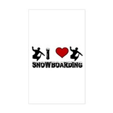 I Love Snowboarding! Rectangle Decal