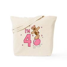 Balloon Bear 4th Birthday Pink Tote Bag