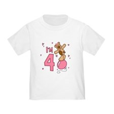 Balloon Bear 4th Birthday Pink Toddler Tee