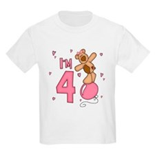 Balloon Bear 4th Birthday Pink T-Shirt