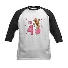 Balloon Bear 4th Birthday Pink Tee