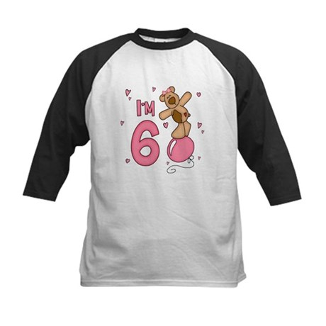 Balloon Bear 6th Birthday Pink Kids Baseball Jerse