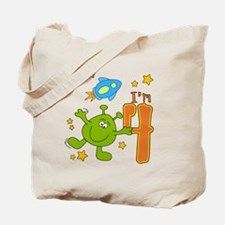 Lil Alien 4th Birthday Tote Bag