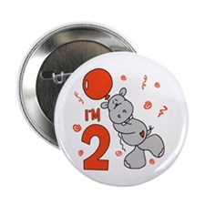 "Hippo Balloon 2nd Birthday 2.25"" Button (10 pack)"