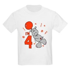 Hippo Balloon 4th Birthday T-Shirt